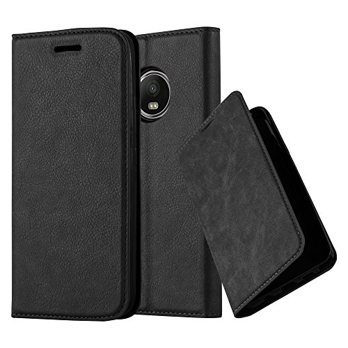 Cadorabo Hülle für Motorola Moto G5 Plus - Hülle in Nacht SCHWARZ - Handyhülle mit Magnetverschluss, Standfunktion & Kartenfach - Case Cover Schutzhülle Etui Tasche Book Klapp Style