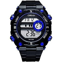 Unisex Sport Watch Multifunction Led Light Digital Waterproof Wristwatch(Blue)