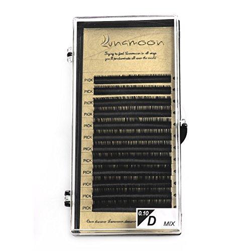 Lunamoon ciglia finte naturale falsi ciglia extension lunghe nero ciglia fatto a mano per il trucco d-curl 0.10mm 0.15mm 7-14mm (d x 0.10mm)