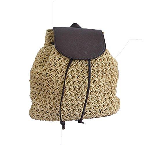 WANGXN Womens Straw Bag Umhängetasche Handgewebte Reise Häkeltasche , deep blue beige
