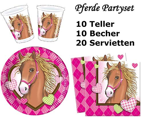 Pferde Horses Partygeschirr - Partyset Becher Teller Servietten