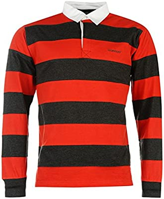 Para hombre Panel de rayas Rugby Polo de manga larga camiseta Top