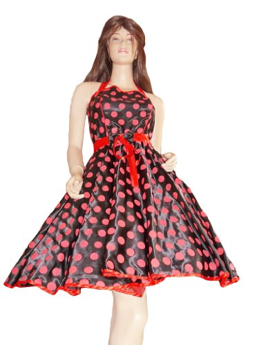 ttticoat Kleid in schwarz/rot, Tellerrock, Petticoat passend zum 50er 60er Jahre Outfit, Einheitsgröße 34-42 (50er Jahre Kostüm Gruppe)