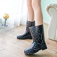 lonfenner Rain Boots,Mid-Calf Rain Boots Soft Comfortable Waterproof Non-Slip Warm Women Wear Resistant Grid Rainboots Pink Polka Dot Bow Water Shoes Woman
