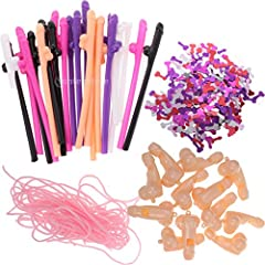 Idea Regalo - non-brand Sharplace Accessory Kit 20pcs Cannucce Pena Multicolore + 12 Collana Fischio+ Confetti Willy