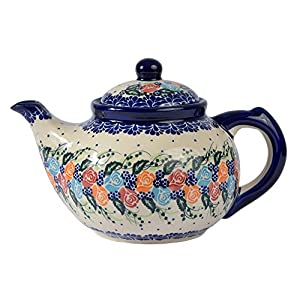 Traditional Polish Pottery, Handcrafted Ceramic 7-Cup Teapot with Lid (1350ml), Boleslawiec Style Pattern, H.101.Rosy