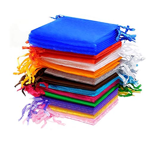 Akord sacchetti per gioielli bomboniere, organza, multicolore, 100 pz.