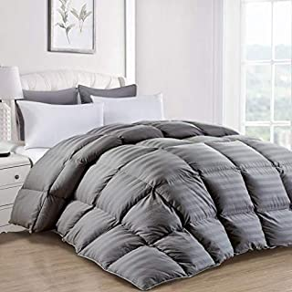 MoSurprise Luxury 100% White Goose Down Grey Striped Duvet Double Size 10.5 Tog All Seasons Duvet Insert Classic Quilt Hypoallergenic 100% Cotton Shell Down Proof (Grey Striped, Double)