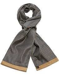 Mailando Herrenschal aus Kaschmir-Woll-Mix und Seide, schwarz - weiss - braun,gepunktet, sehr elegant
