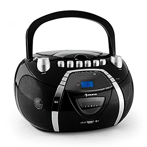 auna Beebop Poste Radio CD cassette (fonction répétition, mode aléatoire, USB, haut-parleurs stéréo, sortie casque, lecteur CD K7) - noir