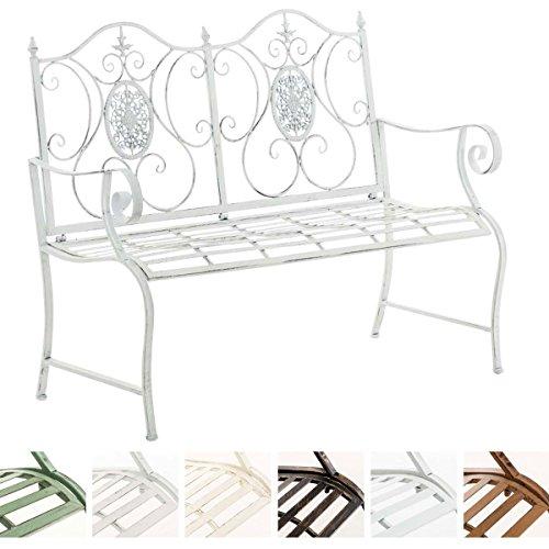 CLP Nostalgica panca da giardino PUNJAB, ferro laccato, antico, stile rétro, ca. 120 x 50 cm bianco antico