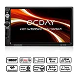 Autoradio Doppio Din , Autoradio OCDAY 2 DIN con touch screen 7 inch HD 1080P, Mirrorlink , USB/TF/ FM/AM/RDS Radio Tuner/Aux in/supporto fotocamera per retromarcia/Telecomando