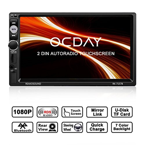 Doppel Din Autoradio,OCDAY 2 Din Autoradio mit FHD Touchscreen,Autoradio MP5 Spieler Bluetooth,Mirrorlink((Android Phone),USB/TF/ FM/AM/RDS Radio Tuner/Aux in/Unterstützung Rückfahrkamera