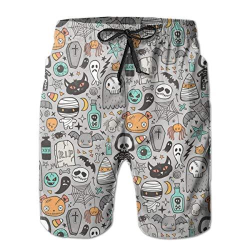 Fun Life Art Halloween Doodle Skulls,Men's Shorts Casual Classic Fit Drawstring Summer Beach Shorts Beachwear Summer Holiday Swim Trunks