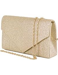 e8acc0a95fc5 Emila Pochette donna elegante da cerimonia Borsa piccola gioiello Clutch  glitter argento oro Borsetta a mano nera e…