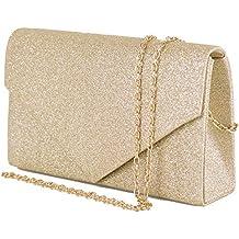 7ee0534224 Emila Pochette donna elegante da cerimonia Borsa piccola gioiello Clutch  glitter argento oro Borsetta a mano
