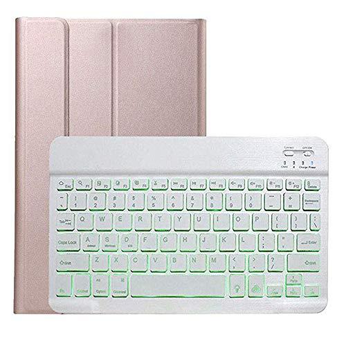 """Tastatur Hülle für iPad 10.2\"""" 2019,Colorful Kratzfest PU Leder Hülle mit Hinterleuchtet Abnehmbare Wireless Tastatur für iPad 10.2\"""" 2019 (Roségold)"""