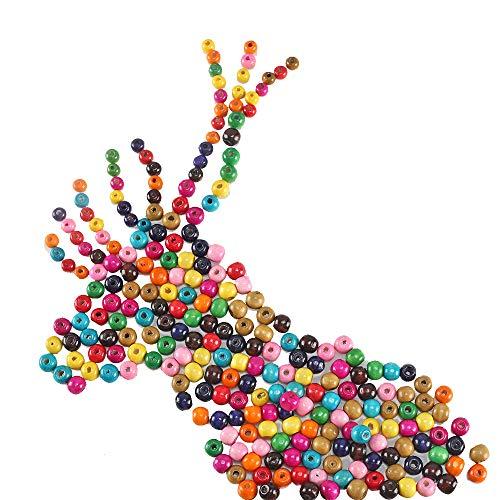 KINDPMA 600er Holzperlen bunt Holzkugeln mit Loch 6mm 8mm 10mm Holzperlen zum Fädeln Auffädeln Basteln Perlen Holz Wooden Beads Rund Holzperlen für Kinder Armbänder Traumfänger Perlenkette