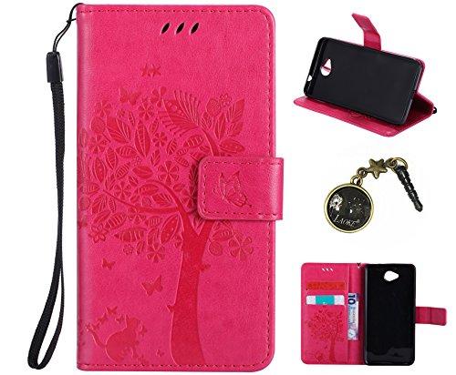 Preisvergleich Produktbild PU Microsoft Lumia 650 Hülle, Klappetui Flip Cover Echt Leder Tasche für Nokia Microsoft Lumia 650 Flip Cover Handyhülle Bookstyle mit Magnet Kartenfächer Standfunktion + Staubstecker (3TT)