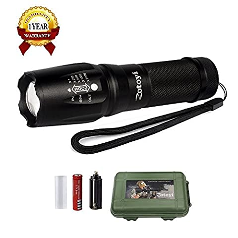 LED Torch Flashlight, Zotoyi Ultra Bright 1000LM XML-T6 LED Tactical Flashlight Handheld Zoomable Adjustable Focus Torch Water Resistant with 5 Light Modes, 18650 Rechargeable Battery and Charger (for Camping and Hiking) Ship from UK