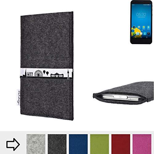 flat.design für Vestel 5000 Dual-SIM Schutztasche Handy Hülle Skyline mit Webband Wien - Maßanfertigung der Schutzhülle Handy Tasche aus 100% Wollfilz (anthrazit) für Vestel 5000 Dual-SIM