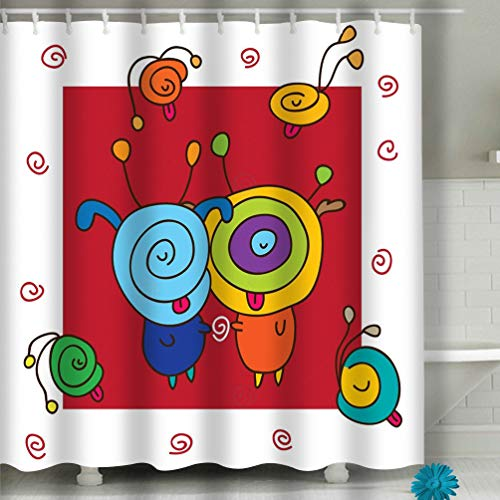 hyjhytj Beach Shower Curtain Silly Abstract Cartoon White red Color Background Graphic Fabric Bathroom Decor 60 X 72 Inch