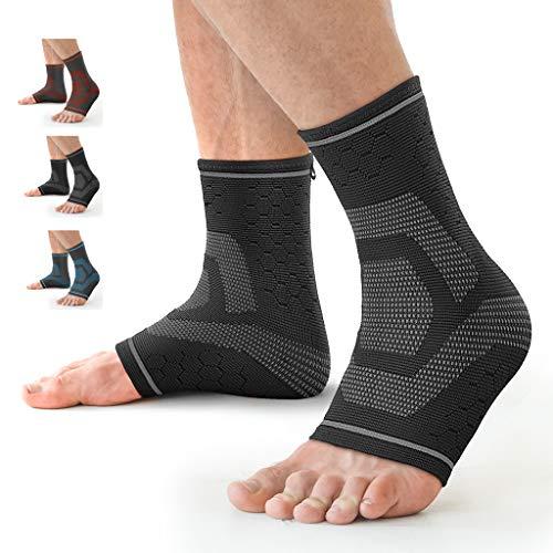 Awenia Fussbandage Fußbandage Fußgelenk Fersensporn Bandage Knöchel Laufen Sport Bandage Sprunggelenk für Männer Damen,Schwarz S