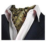 YCHENG Herren Krawattenschal Elegant Blumenkleid Ascot Seidenschal Paisley Jacquard Anzug Zubehör Gold 100-135cm