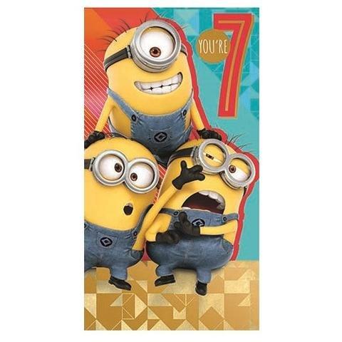 py Birthday Sie sind 7Alter 7Geburtstagskarte (Despicable Me Birthday Party Supplies)