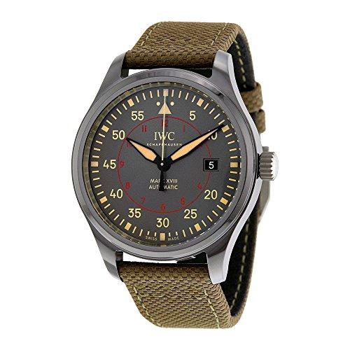 iwc-pilots-homme-41mm-bracelet-cuir-vert-boitier-ceramique-automatique-cadran-marron-montre-iw324702