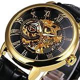 Mechanische Uhr, SAINKO für Männer/Frauen, Automatische Uhr Wird am Handgelenk getragen, EIN Rose-Gold-Gehäuse,Luxuriöse mechanische Uhr mit echtem Lederband. (Watch81)