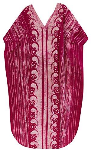 La Leela robe casual main beachwear coton batik maillots de bain maillot de bain kimono caftan des femmes Rouge