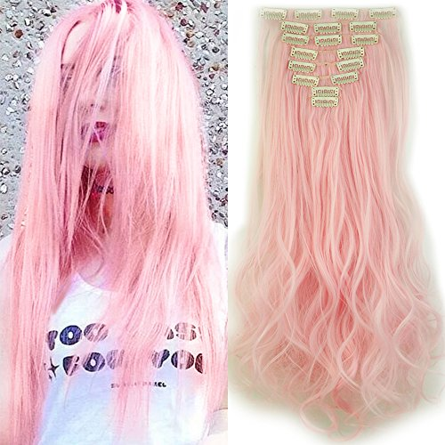 Extension clip rosa capelli sintetici mossi lunghi 24 pollici 60cm full head hair extension 8 ciocche