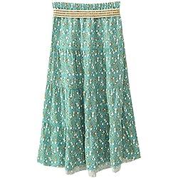Quge Boho Largo Midi Falda Para Mujeres Faldas Estampada Floral Bohemias Para Playa Verano Flor verde