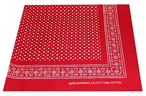 Tobeni 548 Bandana Kopftuch Halstuch Nickituch in 100 Baumwolle für Damen und Herren Farbe kleine Punkte Rot Grösse 54 cm x 54 cm