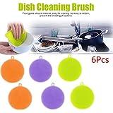Gaddrt Lave-vaisselle éponge lave vaisselle nettoyant antibactérien outil, silicone (6pcs)