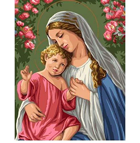 AELAHER Malen Nach Zahlen DIY Landschaft Rahmenlose Ölgemälde Jungfrau Maria Jesus Bild Digitales Leinwand Ölgemälde Wand 40X50 cm Kunst Geschenk