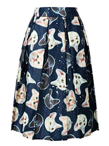 choies-womens-navy-cute-cat-print-high-waist-skater-midi-skirt