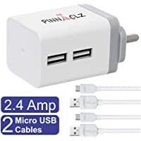 Pinnaclz Combo WC-3-WG+2 MUSB-W Wall Charger with Data Cable (White-Grey)