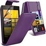 (Lila) Nokia Lumia 520 / 525 Schützende Faux Credit / Debit Card Leder Flip Skin Case Hülle Cover, einziehbare Touch Screen Stylus Pen & LCD-Screen Protector Guard von Spyrox