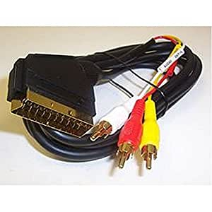 Prise péritel vers 3 x prises Phono 2 m (sortie). Type de connecteur vers connecteur Type B prise RCA, 3 x 2 m-Câble audio/vidéo pour vidéo composite audio stéréo connections. Câble entièrement blindé et connecteurs en cuivre pur, couleur et contacts plaqués or.