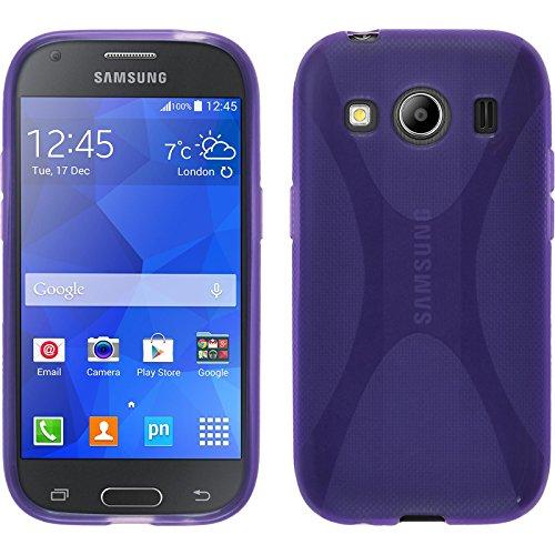 PhoneNatic Case für Samsung Galaxy Ace 4 Hülle Silikon lila, X-Style + 2 Schutzfolien