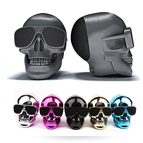 JSGJYX Altavoz Bluetooth 1PSC Gafas de Sol Bluetooth Altavoz inalámbrico Cráneo Bass Halloween Cartoon Regalo Mini Skull Forma de Cabeza para Ordenador Portátil iPhone xiaomi