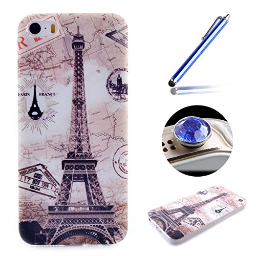 Apple iPhone SE,iPhone 5/5S Doux Coque,Ultra-minces TPU Silicone Coque Case Pattern étui pour Apple iPhone SE,iPhone 5/5S, Rim Jante est Transparent Housse Mode [Don't Touch MY Phone] Motif Cover pour tour Eiffel