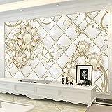 hhlwl Wandtapete 3D Golden Diamond SchmuckrolleFresko Wohnzimmer TV Sofa Selbstklebende Aufkleber-350cmx255cm