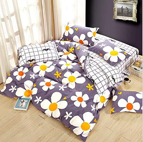 SHJIA Elegante Blumen Bettwäsche Set Polyester Baumwolle Bettwäsche Sets Tagesdecken Kinder Twin Size Blau Bettbezug Bettlaken Set Lila 180x220cm - Twin-size-bettlaken