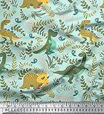 Soimoi Grun Baumwolle Ente Stoff Dinosaurier & Redwood