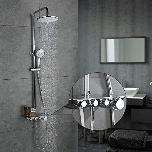 Desfau 3-Funktion Duschsystem mit Regal Regendusche Duschset Duscharmatur Dusche Rainshower inkl. Handbrause Überkopfbrause Brausestange