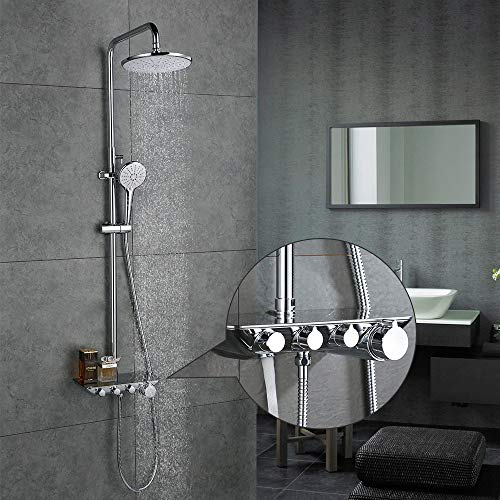 duschsystem regendusche Desfau 3-Funktion Duschsystem mit Regal Regendusche Duschset Duscharmatur Dusche Rainshower inkl. Handbrause Überkopfbrause Brausestange