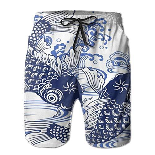 Jeroty Mens Beach Shorts Japanese Koi Fish Swim Trunks Summer Casual Male Swimsuit Quick Dry -